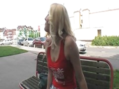 Sexy blonde hottie drilled in public 4 some bucks and joy