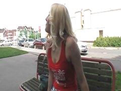 Sexy blonde hottie drilled in public 4 some bucks and joy