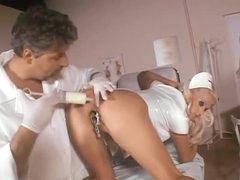Huge milk enema followed by nurse anal sex