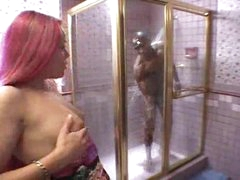 Black cutie sucks monster black cock in shower