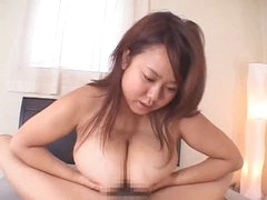 Titjob from chubby Japanese girl makes him cum