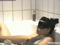 Wife vs a vibrator in the bathtub