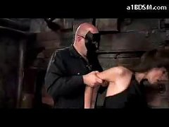 Brunette Girl In Nylons Spanked Getting Tied Up Sucking Cock In The Dungeon