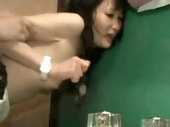 It is a taut fit in this bathroom, and a taut fit in her pussy.  But this pair manages to fuck in several different positions, and lastly this chab leaves his hot cum inside her, a good creampie for us to see.