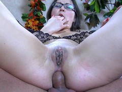 Upskirt playgirl in glasses acquires her curvy behind licked and dicked by a fellow