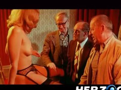 Golden-Haired hotie makes a retro peep show for old chaps