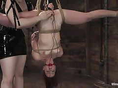 Claire Adams has Trinity Post's vagina wired. She's not merely fastened up but upside down, and gagged to boot. She's got a metal plug in her cunt and Claire's using a vibrator on her clit, making her crave to cum. She gets permission to cum and that babe does several times, moaning loudly throughout her ball gag.