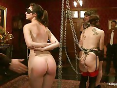She's young, with a delicious booty, pink lips and small cute tits. Meet Kristine, a sexy babe that awaits her treatment. Milf Bella approaches her with a strap on around her throat and fucks Kristine's young wet love tunnel deeply. These doxies are sex slaves and they like it that way. It's freaky!