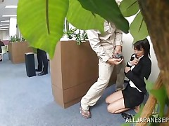 Japanese cunt wants to piss, but doesn`t know where. That babe asks a worker, but he doesn`t aid her and she pisses outside the building. This chab follows her and watches her. Then, he becomes so slutty and begins to play with her moist pussy, recording it at the same time. They go to hide from others when she sucks his cock.