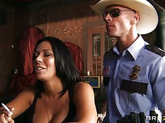 This horny policeman finds a nice milf in a bar and when that hottie sees him that hottie grabs him by the collar and starts getting horny. He takes her large hot boobs out squeezing and kissing 'em and after that grabs this slut by the neck and gives her his cock. See her as that hottie sucks his dick with pleasure, is that hottie going to get some spunk?