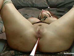 Tied on the sofa and ball gagged this bitch receives some shocks with an electric wand. The executor pays particular attention to her nipps and wazoo hole. Now it's time for some hard whipping on those sexy thighs and wet pussy. It looks like she's ready for a hard fuck but still needs some spanking on that cunt