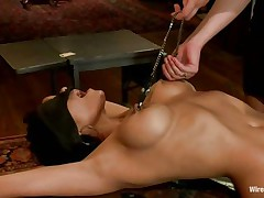 A devilish brunette wearing no thing but her dark hawt underware is dominating and punishing that smokin' hawt brunette. that babe putted clamps on her nipples and electrodes and inserted a sex-toy in her twat in advance of making her stand on her feet for a better humiliation. She is going to enjoy each moment of punishing that hawt body