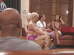 The couples gathered jointly in a room and the men sit quietly as their wife talked about sex and how they should fuck. A fat Chinese prick is being interviewed and his opinion is that this stuff is just like dating. Well now, let's leave 'em to talk as we enjoy how these naughty blond cunts have some fun.
