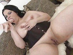 Watch those biggest boobs, that babe actually loves to play with them, putting that big dildo between those scoops and imagine that it's a real dick. She's full with longing and craves to fuck as that babe licks the sex toy and then inserts it in her taut shaved vagina. This chubby whore needs some real cock and a biggest load of semen, does that babe deserve it?
