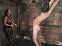 Marioara is a slut from Romania, this doxy has the skills to satisfy each guy that wants some domination and pain. Here this babe is in full act taking nice care of her sex slave, Lefty, and this babe does her most good 1st by using a rope betwixt his legs and then whipping him, now this babe thonged on a dildo, what will this babe do with it?