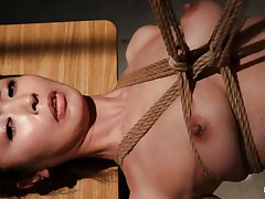 Have a look at this hawt cunt, she's all tied up and hangs there quietly until that babe receives roughly face hole fucked with a dildo. The intensity and brutality of the fucking makes our slut horny! She's not only fucked, the executor slaps her and strangulates her too. After all that he leaves the bitch hanging in the black