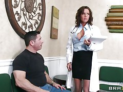 Veronica knows how to take care of her patients. She examines this man and then makes a decision that the perfect treatment for him would be a mean blowjob. The sexy milf doc opens her mouth with pleasure and slides her lips and tongue in that big hard penis. Will she acquire repaid with a big load of semen on her face?