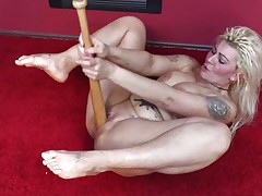 Cuz dildos and hard cocks are not enough anymore I one time used a baseball bat to fuck myself. It felt so nice ripping my pussy with that bat and the only thing I could thought was to stick it deeper in me. Hope u males have a fun the show and u will stay with me as I have a lot more to play with!