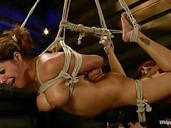 Francesca Le is a hot milf who's bound and getting vibed and dildo-fucked by Maitresse Madeline. Francesca receives permission to cum and this babe does. Next the position changes and Maitresse receives the ding-dong and plunges unfathomable into Francesca's constricted asshole, making her groan loudly through her ball gag.