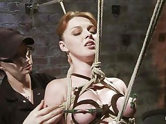 She's a natural beauty with miniature fascinating breasts, nice-looking face and red hair. Her body is tense and punished as her executor, a brunette hair kinky lady performs her job perfectly and ties her milky body with rope then whips the hell out of her. This babe stays there in the position she was secured and out of having the power to disobey, her castigation continues.