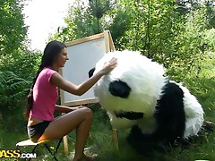 Mr. Panda is outside in the centre of nature and the thin brunette honey that's with him wishes to prove him what an artist this babe is. Well, this babe may not be good at painting but this babe surely knows how to make him cheerful by sucking his big panda cock. Stay with 'em and have a fun the wilderness of the forest and much more