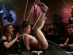 This babe was a very bad angel and the public is determined to give her a disgraceful punishment. Look how she hangs there bound up and with her bawdy cleft on display, waiting to get fucked hard and deep. Her wait is soon over as a man inserts his erect pecker unfathomable in her bewitching vagina, wonder if that guy will cum in her?