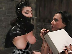 Sandra is a Romanian whore, this sweetheart fulfills her dream as a bitch goddess and we get to watch her doing what this sweetheart loves most. With an obedient, bound up sex slave in front of her Sandra does her life time excitement and punishes the chick. She uses electric shocks and then a stick on those hawt thighs and hot wazoo