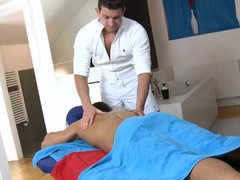Cute twink acquires a lusty massage from gracious gay dude