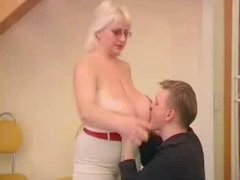 Overweight Blonde Nailed By Stud