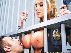 Big Tit Blonde prison guard forces inmate to fuck her moist pussy