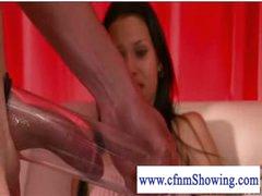 Cfnm gals pumping and blowing shlong