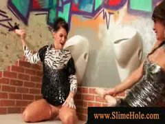 Naughty wet milfs overspread in bukakke ball cream playing with ramrod from the gloryhole