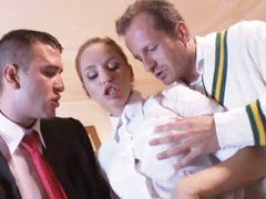 Prep school girl fucked by country club guys